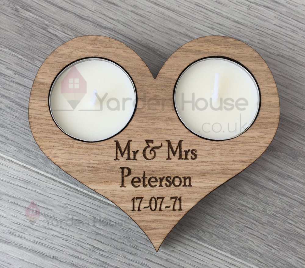 Heart double  tealight holder. PERSONALISED